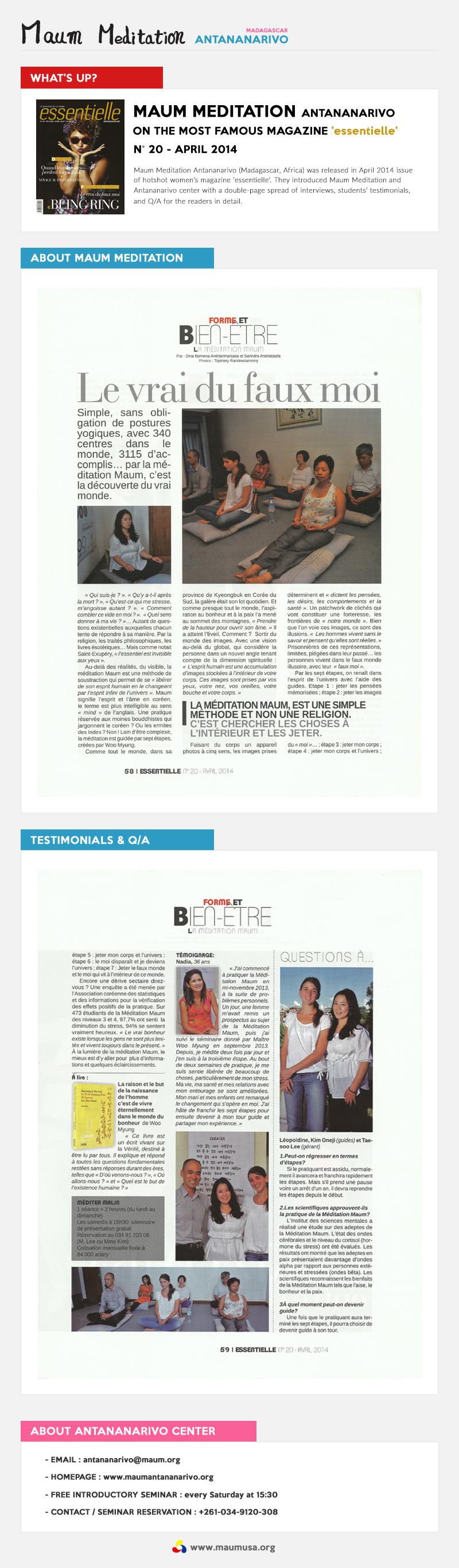Meditation Antananarivo on Magazine 'Essentielle'